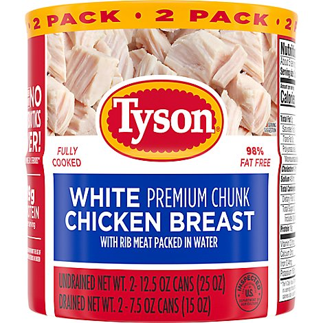 Tyson White Chicken Premium Chunk In Water Twin Pack - 2-12.5 Oz