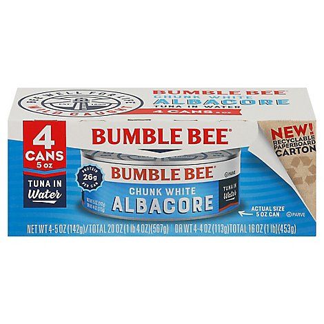 Bumble Bee Tuna Premium Chunk White Albacore In Water - 4-5 Oz