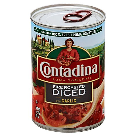 Contadina Tomatoes Fire Roasted Diced With Garlic - 14.5 Oz
