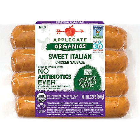 Applegate Organics Chicken Sausage Chicken & Apple Sweet - 12 Oz