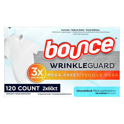 Bounce WrinkleGuard Fabric Softener Dryer Sheets Unscented - 60 Count