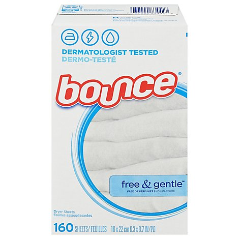 Bounce Fabric Softener Dryer Sheets Free & Gentle - 160 Count