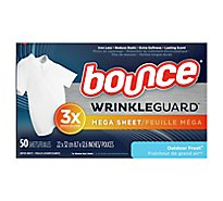 Bounce WrinkleGuard Dryer Sheets Mega Outdoor Fresh - 50 Count