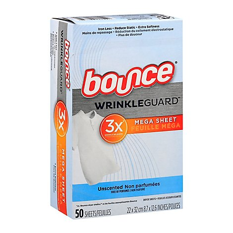 Bounce WrinkleGuard Dryer Sheets Mega Unscented - 50 Count
