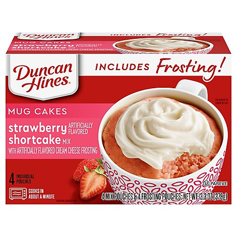 Duncan Hines Mug Cake Mix Strawberry Shortcake With Cream Cheese Frosting - 13.3 Oz