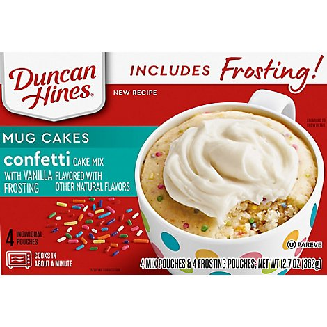 Duncan Hines Mug Cakes Mix With Vanilla Frosting Confetti Cake 4 Count - 12.7 Oz