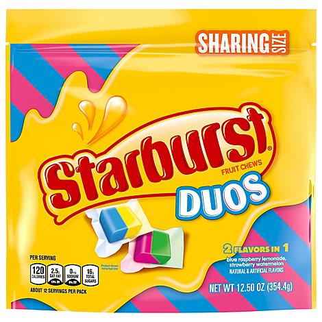Starburst Fruit Chews Chewy Candy Flavor Duos Stand Up Pouch - 12.5 Oz