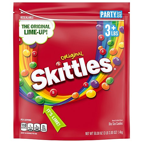 Skittles Chewy Candy Original Fruity Party Size Bag - 50 Oz