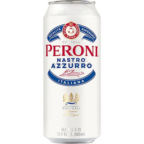 Peroni Nastro Azzurro Beer Lager 5.1% ABV Can - 12 Fl. Oz.