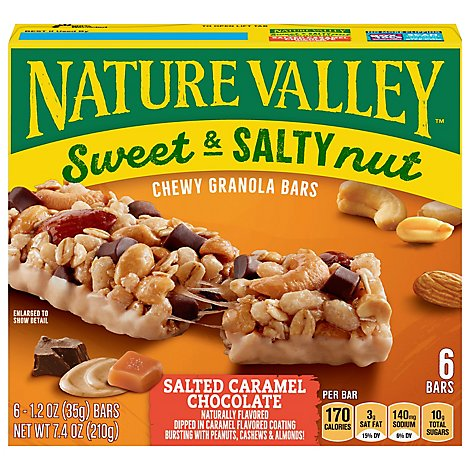 Nature Valley Granola Bars Sweet & Salty Nut Salted Caramel Chocolate - 6-1.24 Oz