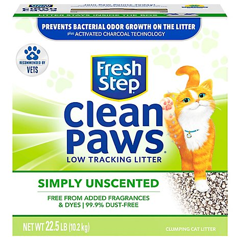 Fresh Step Clean Paws Cat Litter Clumping Low Tracking Unscented - 22.5 Lb
