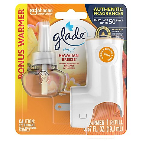 Glade PlugIns Scented Oil Warmer + Refill Hawaiian Breeze - 0.67 Fl. Oz.