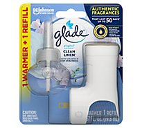 Glade PlugIns Scented Oil Warmer + Refill Clean Linen - 0.67 Fl. Oz.