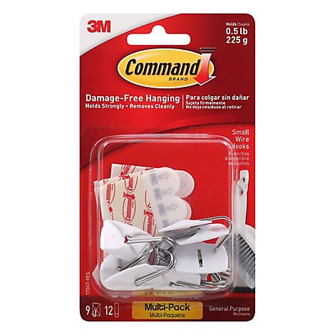 Command 3M Wire Hooks Small White Multi Pack - 9 Count