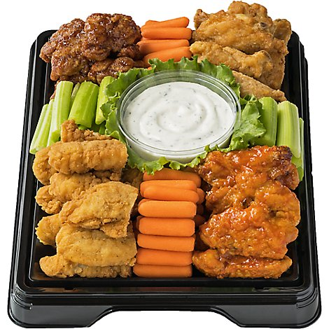 Deli Catering Tray Wing Fling 16 Inch Square Tray 12-16 Servings - Each (Please allow 24 hours for delivery or pickup)