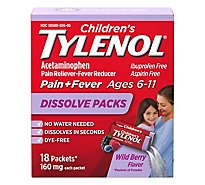 Tylenol Childrens Pain Reliever/Fever Reducer Dissolve Packs Wild Berry - 18 Count