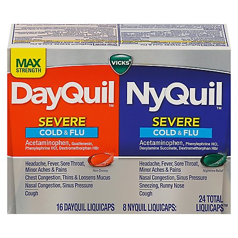 Vicks DayQuil NyQuil Medicine For Severe Cold Flu And Congestion Liquicaps - 24 Count