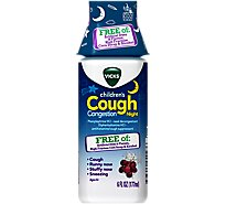 Vicks Childrens Cough Congestion Syrup Night Ages 6+ Grape - 6 Fl. Oz.