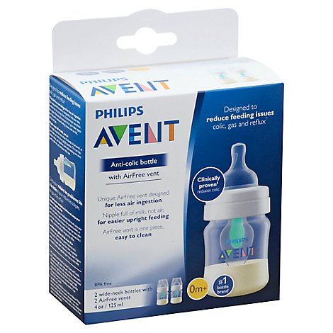 Avent Bottle Anti Colic Wide Neck With Airfree Vent 0m+ 4 Ounce - 2 Count