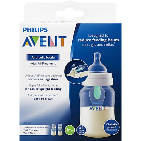 Avent Bottle Anti Colic Wide Neck With Airfree Vent 1m+ 9 Ounce - 2 Count