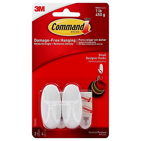 Command Designer Hooks Small White - 2 Count