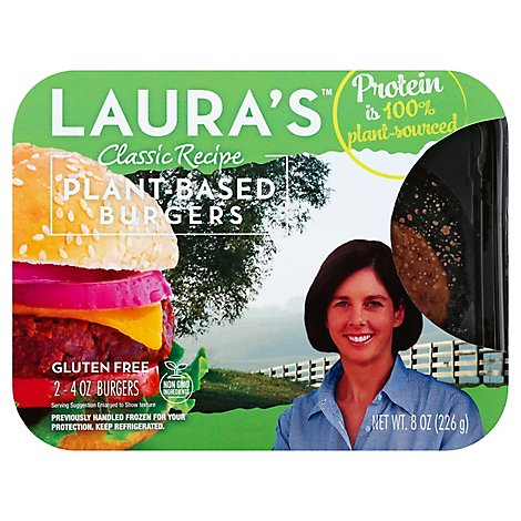 Lauras Classic Recipe Plant Based Burger - 8 Oz