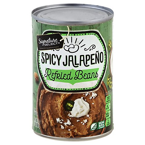 Signature Select Beans Refried Spicy Jalapeno - 16 Oz