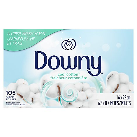 Downy Fabric Softener Dryer Sheets Cool Cotton - 105 Count