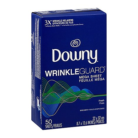 Downy WrinkleGuard Dryer Sheets Mega Fresh - 50 Count