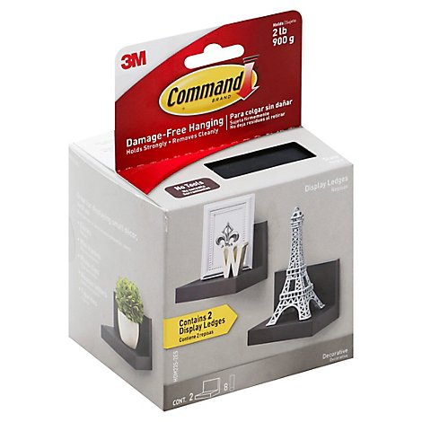 Command Display Ledges Slate 2 Display Ledges 8 Medium Strips - Each