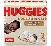 Huggies Nourish & Care Baby Wipes Scented Fliptop Pack - 3-56 Count
