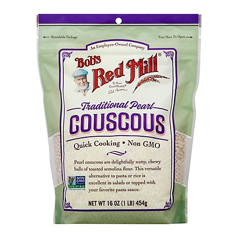 Bobs Red Mill Couscous Traditional Pearl Quick Cooking Non GMO - 16 Oz