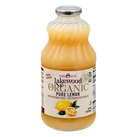 Lakewood Organic Juice Fresh Pressed Pure Lemon - 32 Oz