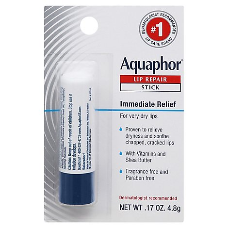 Aquaphor Lip Repair Stick Soothes Dry Chapped Lips - 0.17 Oz