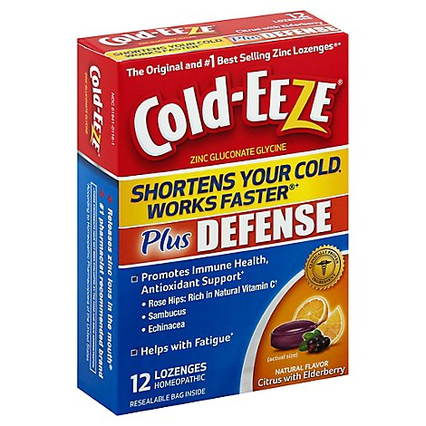 Cold-EEZE Zinc Gluconate Glycine Lozenges Plus Defense Citrus With Elderberry - 12 Count