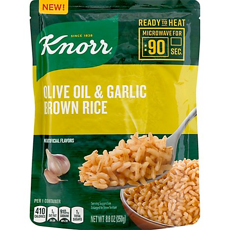 Knorr Rice Ready To Heat Brown Olive Oil & Garlic - 8.8 Oz