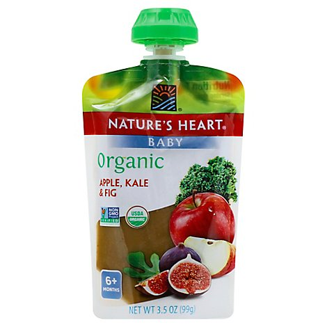 Natures Heart Organic Baby Food 6+ Months Apple Kale & Fig - 3.5 Oz