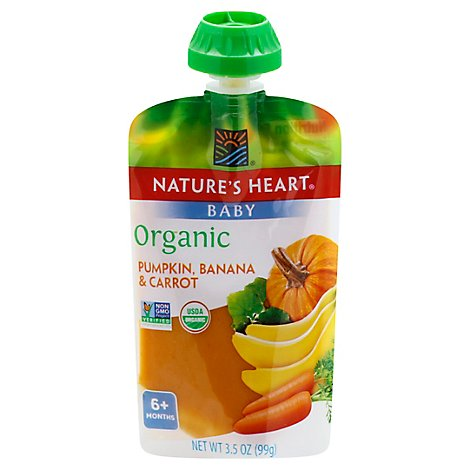 Natures Heart Organic Baby Food 6+ Months Pumpkin Banana & Carrot - 3.5 Oz