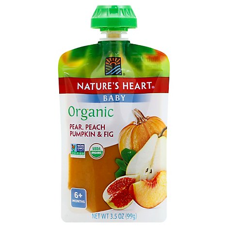 Natures Heart Organic Baby Food 6+ Months Pear Peach Pumpkin & Fig - 3.5 Oz