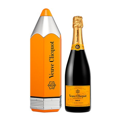 Veuve Clicquot Champagne Yellow Label Pencil Gift Pack - 750 Ml
