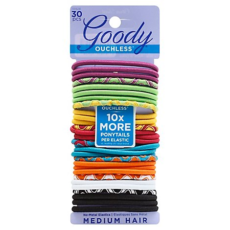 Goody Ouchless Elastics No Metal Medium Hair Citrus Twist 4 mm - 30 Count