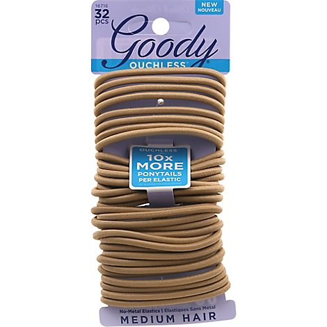 Goody Ouchless Elastics No Metal Braided Medium Hair Beach Blonde - 32 Count
