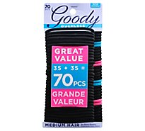Goody Ouchless Elastics No Metal Braided Medium Hair Black - 70 Count