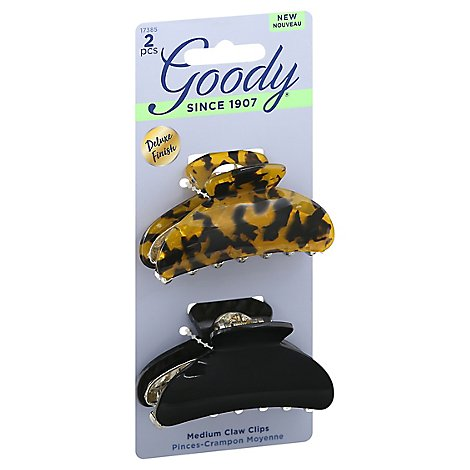 Goody Claw Clips Medium Black Tortoise - 2 Count