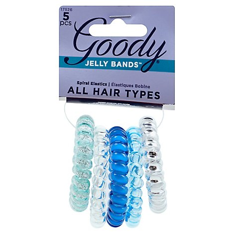 Goody Jelly Bands Elastics Spiral Clear Silver - 5 Count