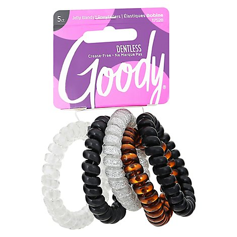 Goody Jelly Bands Elastics Spiral Clear Black - 5 Count
