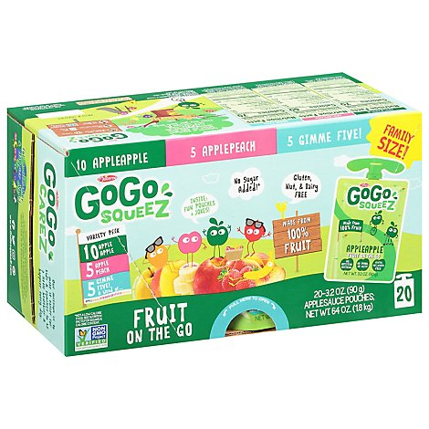 GoGo squeeZ Applesauce On The Go Apple Peach Gimme Five Variety Pack - 20-3.2 Oz