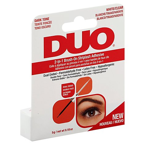 Duo Striplash Adhesive 2 In 1 Brush On Dual Ended Dark Tone & White/Clear - 0.18 Oz
