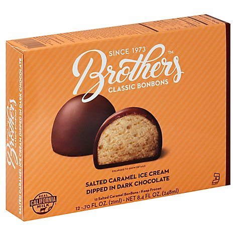 Brothers Bonbons Classic Salted Caramel Ice Cream Dipped In Dark Chocolate - 12-0.7 Fl. Oz.