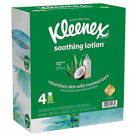 Kleenex Soothing Lotion Facial Tissue 2 Ply Cube Box 4 Pack - 260 Count
